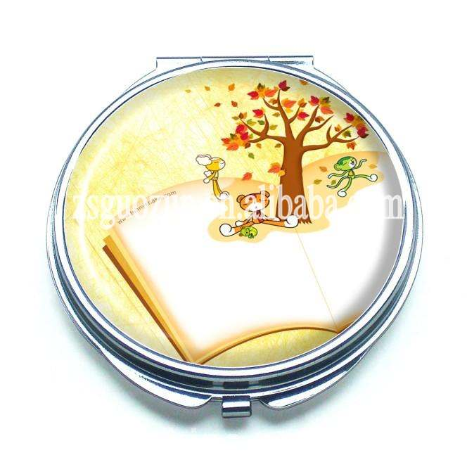 New trendy ladies mini round metal cosmetic mirror/makeup mirror/pocket mirror with logo