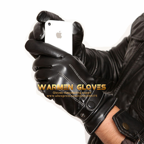 Warmen Men's winter warm Driving touch screen Soft genuine Leather Gloves