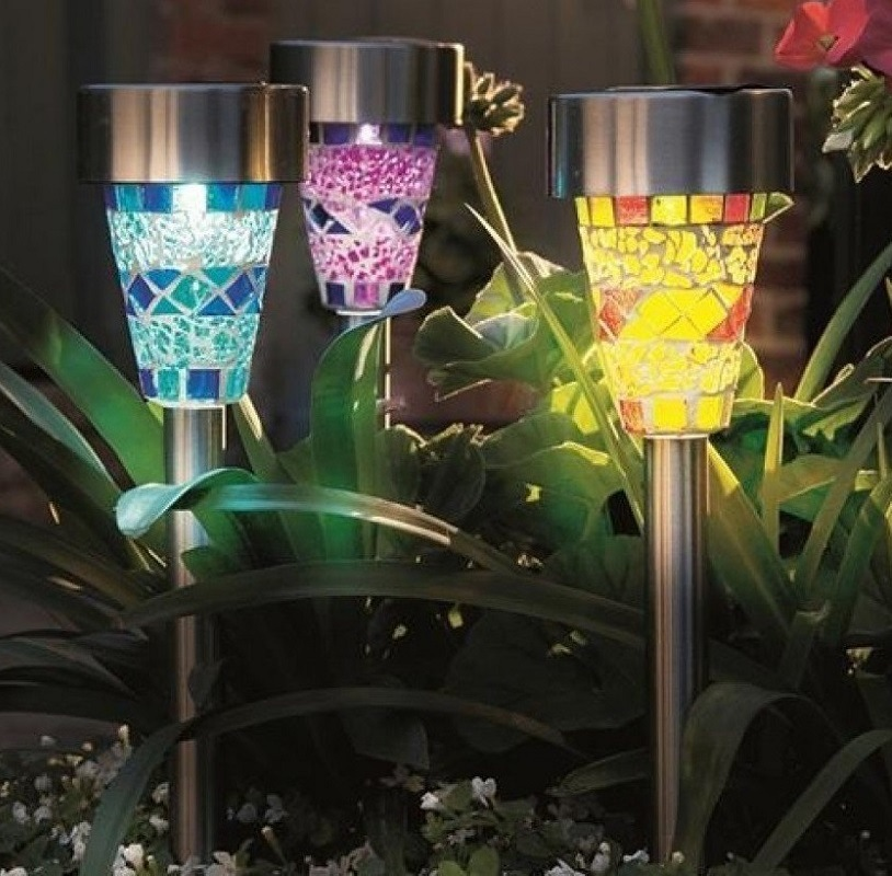 Factory price Solar path light with decoration colorful mosaic