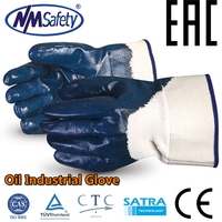 NMSAFETY blue nitrile half coated gloves oil field work glove oil and gas safety glove