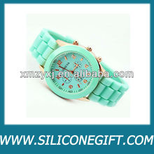 geneva brand silicone wrist watches/stainless steel case back