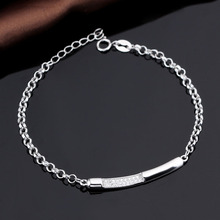 Fashion Design AAA CZ Stone 925 Sterling Silver Personalized Slogan Name Brand Charm Bracelet