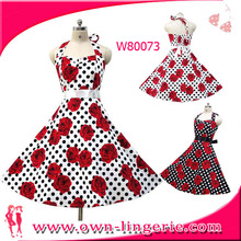 High quality vintage rockabilly dress women printed rose Red Polka Spotted Dress Made In China