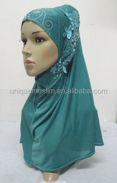 H274 latest one piece instant hijab with lace and rhinestones,muslim scarf
