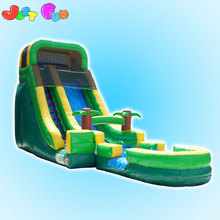 20ft tropical blaster water slide with pool/inflatable slide for kids/inflatable dry n water slide for sale