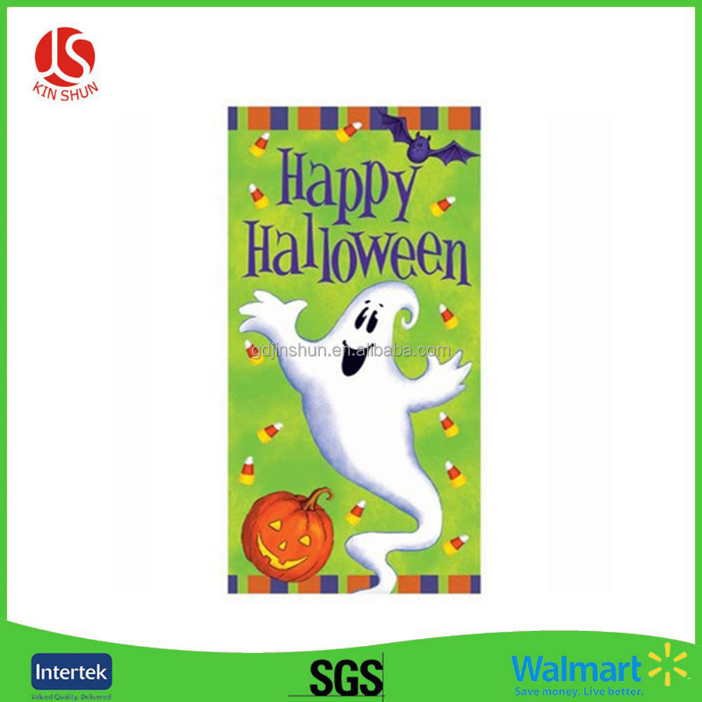 Ghost and Pumpkin Printed Plastic Door Cover for Students Halloween Party