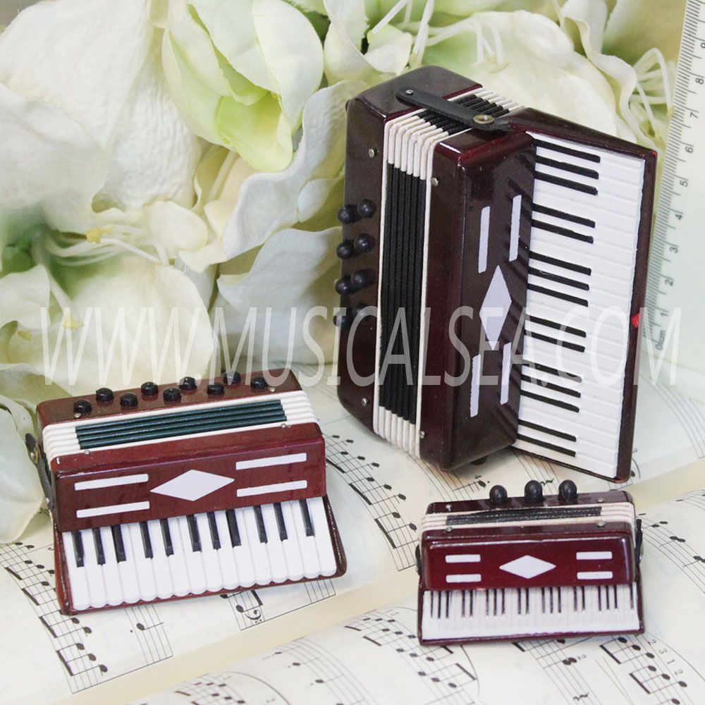 Miniature accordion for music decoration mini musical instrument handmade wooden christmas ornament craft