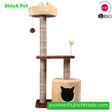 CY567 Wholesale Two layers cats scratch climbing frame with spring and hairball