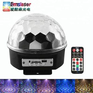 Bluetooth MP3 Disco Party Lights 9 Color LED Rotating Crystal Magic Ball With Remote Control