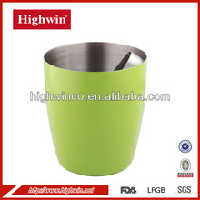 Green color single wall stainless steel ice cube bucket for coffee shop