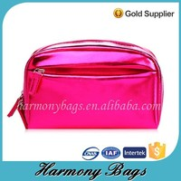 Best selling hot pink shiny leather ziplock lighted makeup case