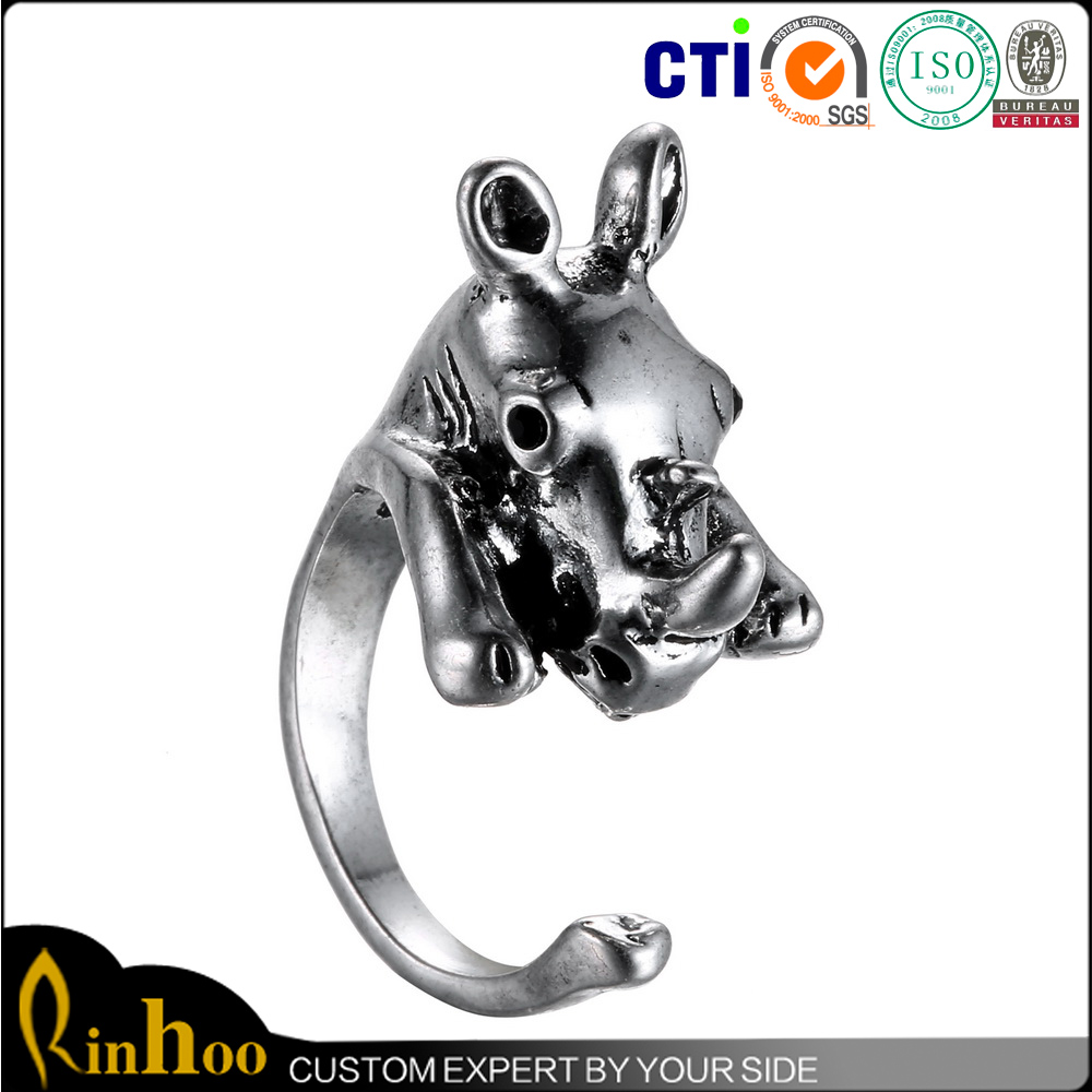 Fashion Antique Silver Animal Rhinoceros Ring Jewelry Newest Design Men Cock Ring