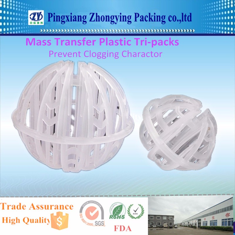 Mass Transfer Plastic Tri-packs with Prevent Clogging