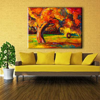 Autumn tree watercolor canvas photo art printing painting in hot sale