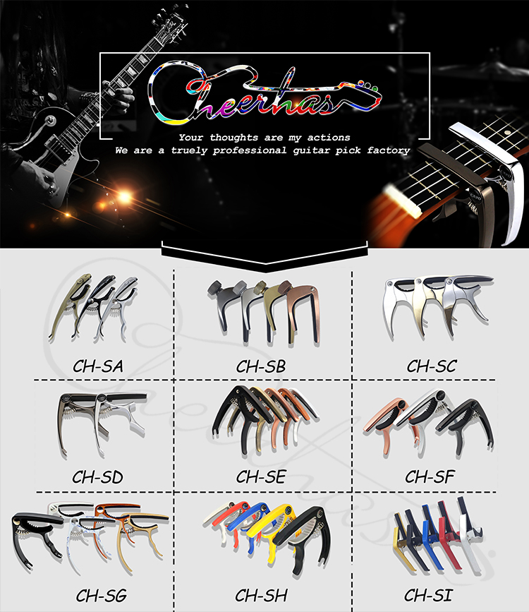 Special shape black silver gold Zinc Alloy Guitar Capo can custom logo