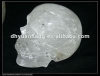 Natural clear crystal quartz carved crystal skull , crystal pave skull beads