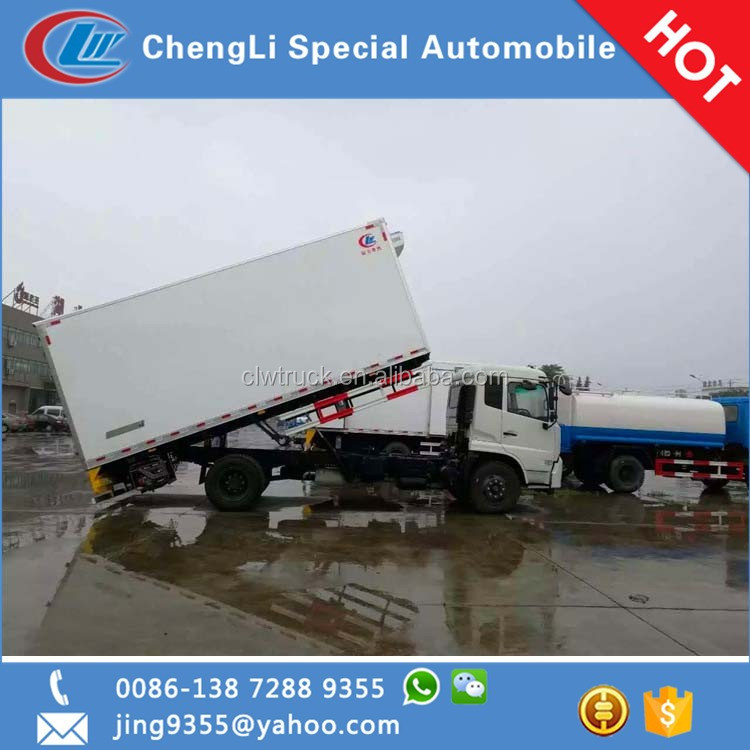 High quality TianJin 4*2 meat hook refrigerator truck 30-32cbm van sale in Benin