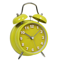 "4"" modern double bell table alarm time clock"