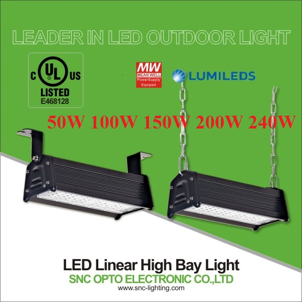 UL CUL LED Linear High bay light 50w to 240w 130LM/W IP65 waterproof commercial industrial Tunnel lighting