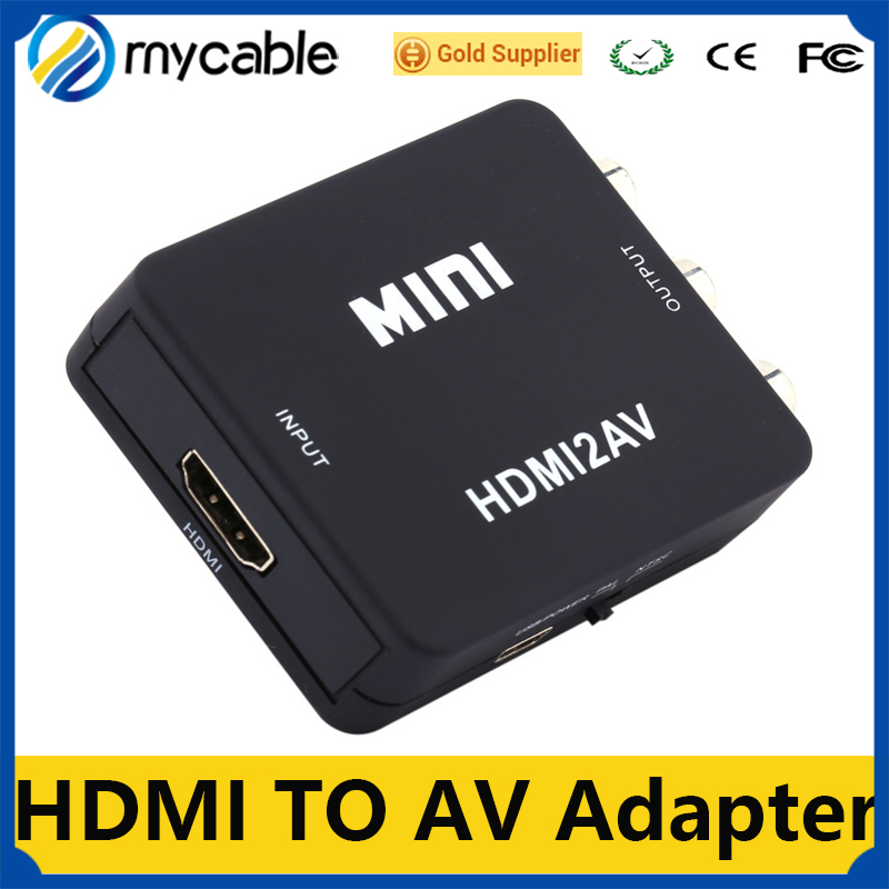 Mini HDmedi Video Converter Box HDMI to RCA AV/CVSB L/R Video 480P 720P 1080P HDMI2AV Support NTSC PAL Output HDMI TO AV Adapter