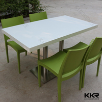 rectangle long shape solid surface white marble restaurant table