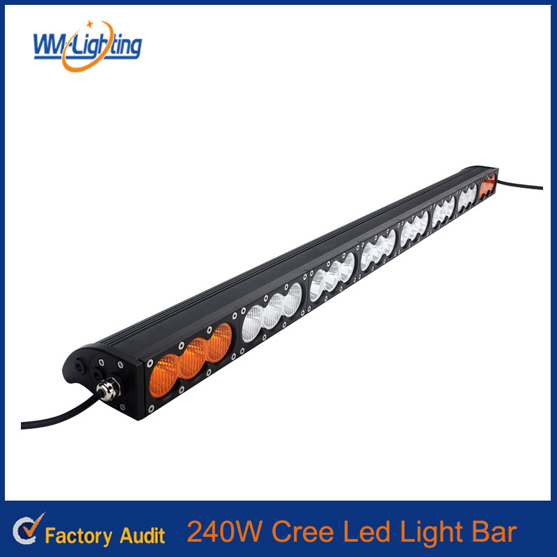 Single Row 23 Inch 240W Car Led Light Bar 4WD 4x4 FLOOD/SPOT Led Light Bar Amber White Dual Color Offroad Lights