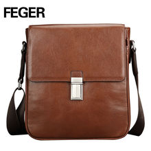 Feger Premium Cow Leather Unisex Messenger Bag Lock vintage Shoulder Bag