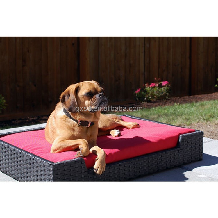 High qulaity resin wicker hand woven rectangle dog bed dog pet products