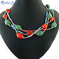 Wholesale Handmade Red Onyx & Synthetic Coral & Synthetic Turquoise Beaded Necklace