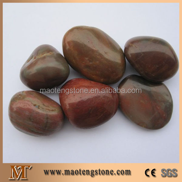 Dark Red Stone Color Polishing Glowing Pebbles For Decoration