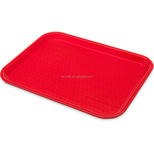 "High Quality Customizable Cafe 14"" x 18"" Red Standard Plastic Fast Food Tray Non-slip Rectangular Polypropylene Serving Trays"