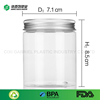 Hot sale 250ml Clear pet recycled round plastic wide mouth jars with pp screw lid