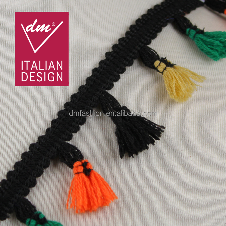 Wholesale 4.5cm width embroidery colorful design tassel cotton fringe for dress