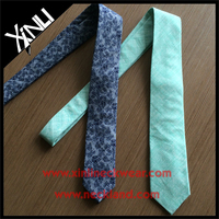 Chambray Cotton Printed Fabric Paisley Tie with Linen Neckties