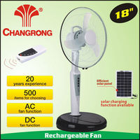 18inch battery operated fan solar power system with 6pcs led light CR-8618R