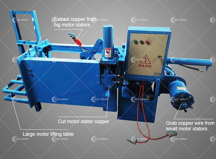Popular Electric Motor Copper Drawing Equipment Motor Scrap Machine