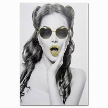 Beautiful lady wear yellow glasses cheap stretched wall art canvas prints pictures