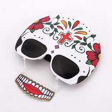 China wholesale Party Supply Hot Sale Products Skull Mask Sunglasses with Teath Halloween Decoration Party Glasses