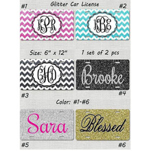 Wholesale Personalzied Blank Monogram Glitter Car License