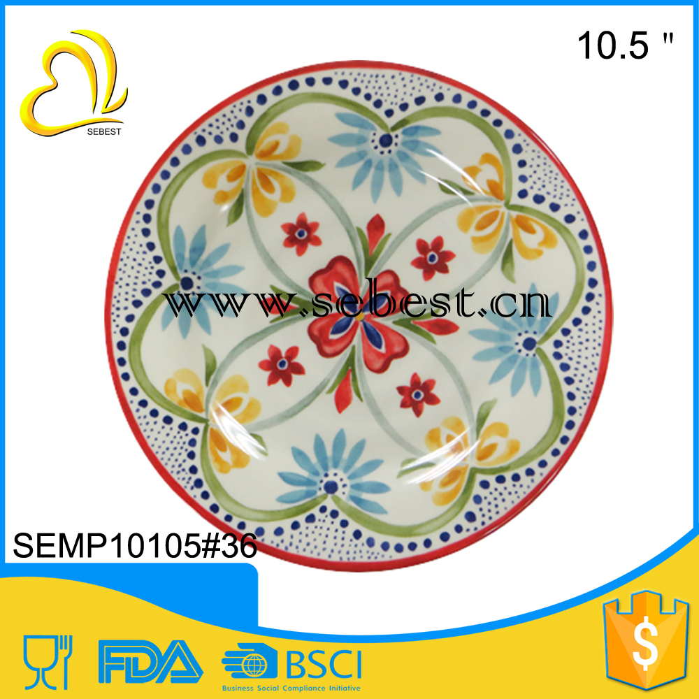 "Practical and beautiful 10.5"" retro flower designs round melamine wedding plates with candy"