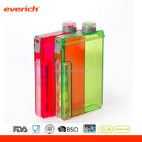 2016 New Design Plastic Square Water Bottle With Candy Container