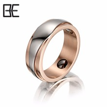 2018 New Invention Unisex Custom Jewelry Rose Gold Titanium Ring With Magnetic Germanium Engagement Ring