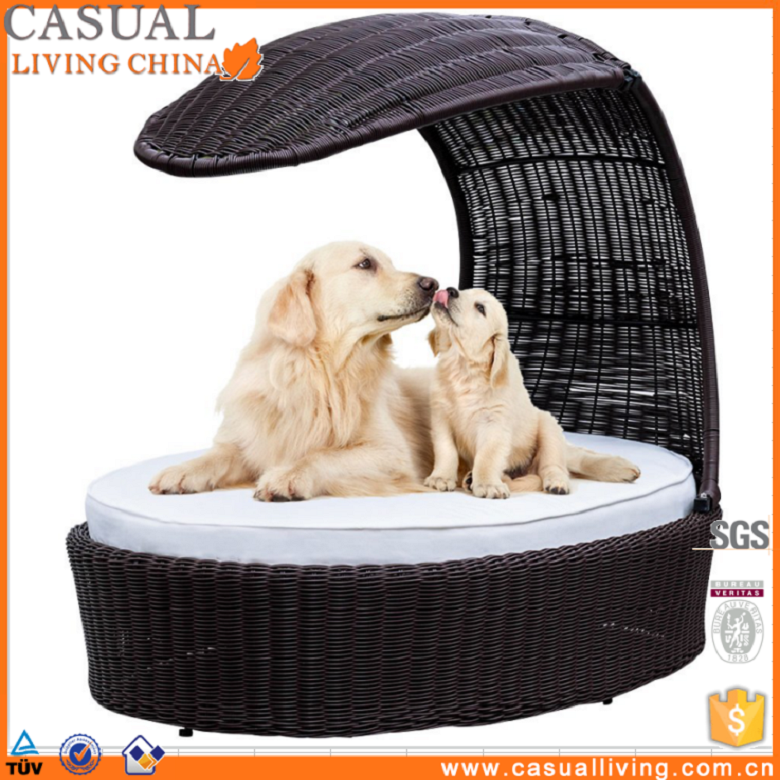 Poly Wicker Rattan Pet Dog Bed with Canopy and Cushion