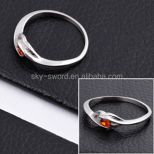 Promotional Fashion Stainless Steel Red Diamond Ring Jewelry TR10043