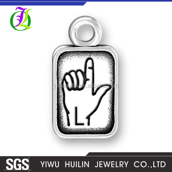 CN185788 Yiwu Huilin jewelry Personalized alphabet L charms wholesale gesture symbol rectangle charms pendant