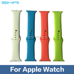 1:1 Original Silicone Strap For Apple Watch Sport Band, For iWatch Sports Buckle Bracelet With Connector Adapter