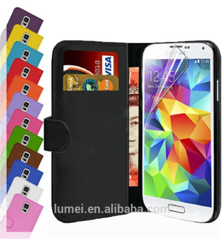 Real Leather Wallet Card Holder Case Cover For Samsung Galaxy S5 Mini