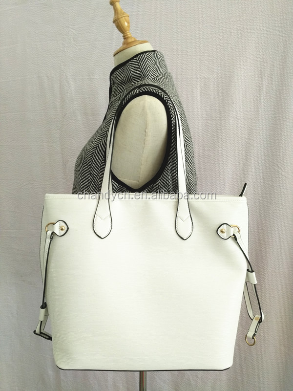 Stock Fashion Blank White Leather Shoulder Bag