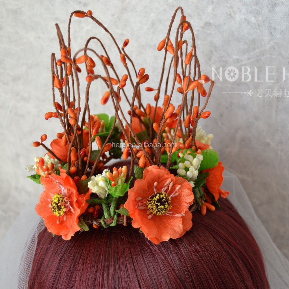 Cheap Free Shipping Orange Flower Crown For Wedding 29HC