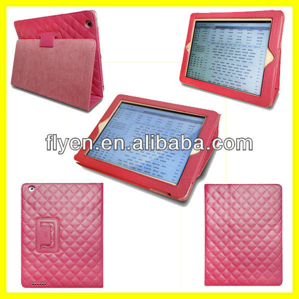 Sheepskin Hot Pink PU Leather Folio Case Cover Stand For iPad 4 3 2 Tablet 9.7'' Wholesale Good Price